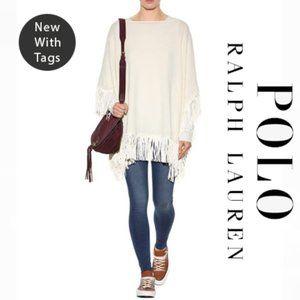 POLO Ralph Lauren Cream Fringe Wool Poncho